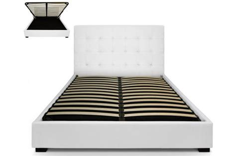lit coffre avec t 234 te de lit capitonn 233 e cuir blanc 160x200
