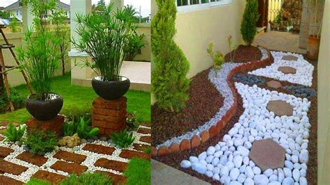 modern garden design ideas  pebbles backyard
