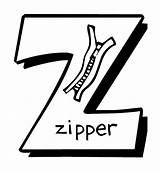 Letter Zipper Coloring Alphabet Printable Pages sketch template
