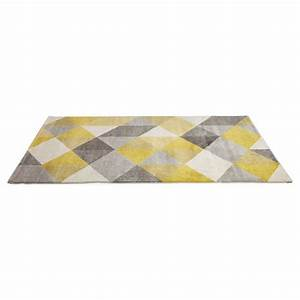 tapis design style scandinave rectangulaire geo 230cm x With tapis gris jaune