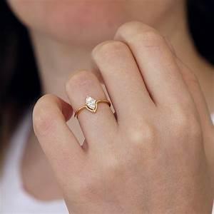 marquise engagement ring minimalist engagement ring With wedding ring minimalist