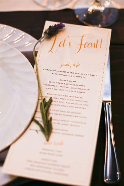 custom designed menu   family style reception