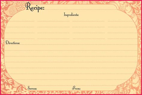 Recipe Card Template For Word Recipe Card Templates For Word Portablegasgrillweber