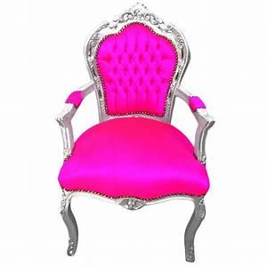 Fauteuil Velours Rose : fauteuil de style baroque rococo tissu velours rose fuchsia et bois argent ~ Teatrodelosmanantiales.com Idées de Décoration