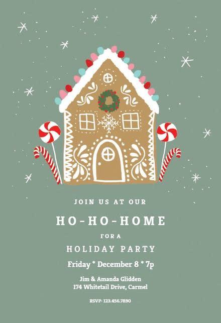 ho ho home christmas invitation template
