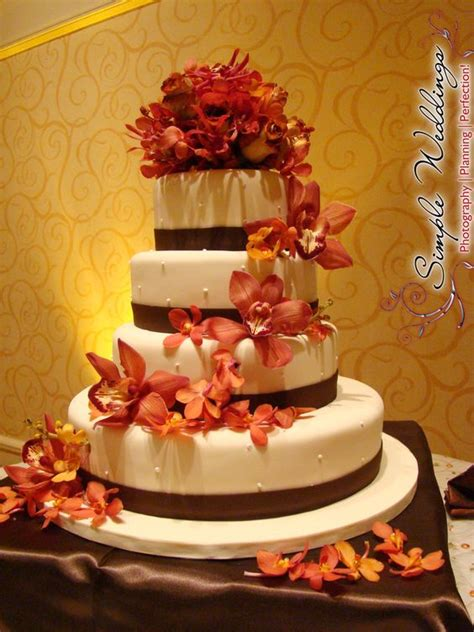 elegant cream  brown  tier wedding cake  burnt