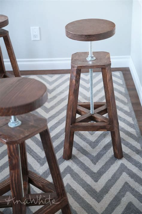 ana white industrial adjustable height bolt bar stool