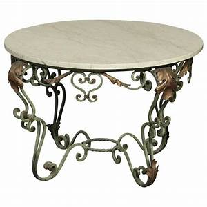 antique italian hand painted wrought iron and cararra With wrought iron and marble coffee table