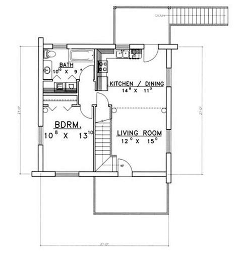 1 Bedroom 1 Bath House Plans by Plan 039 00075 1 Bedroom 1 Bath Log Home Plan