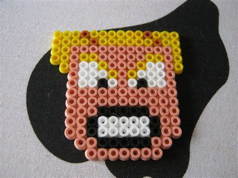 hama bead face magnet     pegboard bead charm