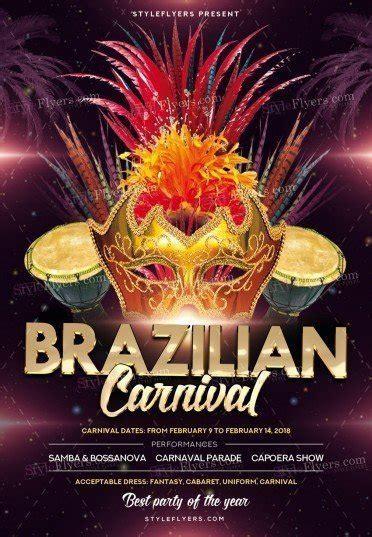 brazilian carnival flyer template brazilian carnival psd flyer template 22303 styleflyers