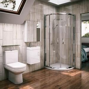 Newark quadrant shower enclosure with en suite set for Shower cubicles for small bathrooms uk