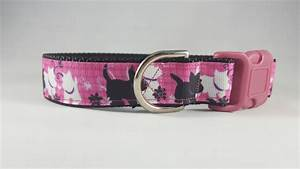 pink wblack and white scotty dog dog collar mediumlarge
