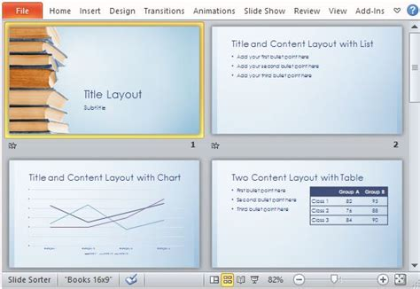 blue bookstack educational powerpoint template