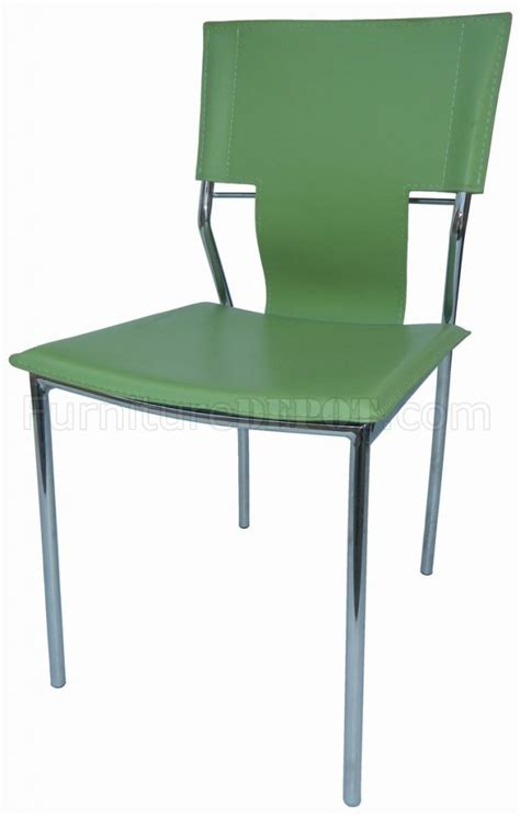 set of 4 green leatherette modern dining chairs w metal legs