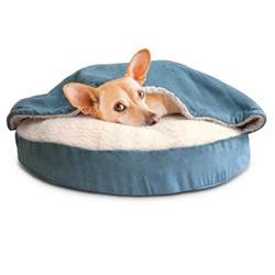 furhaven round snuggery burrow pet bed blue 26 quot