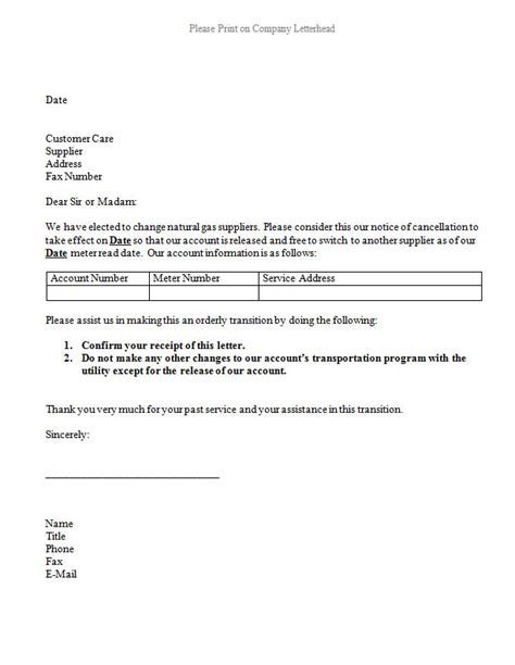 gas cancellation letter alternative utility services
