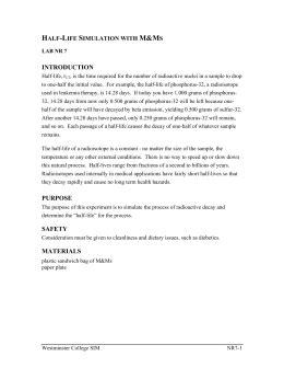 Halflife Practice Worksheet