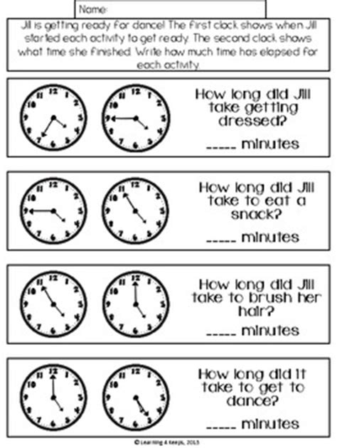 elapsed time math freebie  learning   teachers