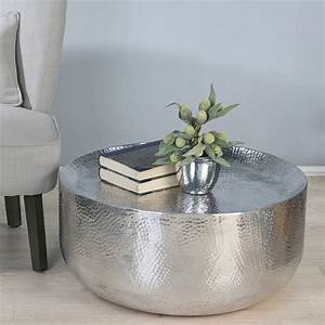round hammered metal coffee table with bookshelf for small With small silver coffee table
