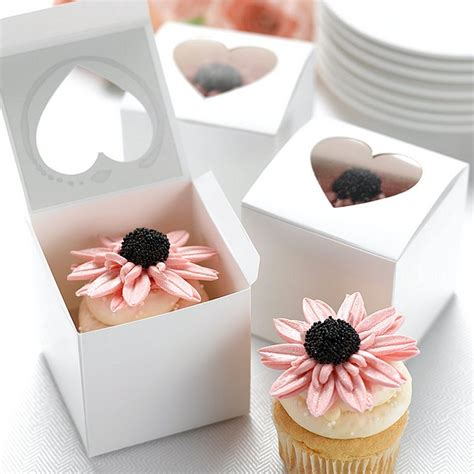 white    individual cupcake favor boxes set