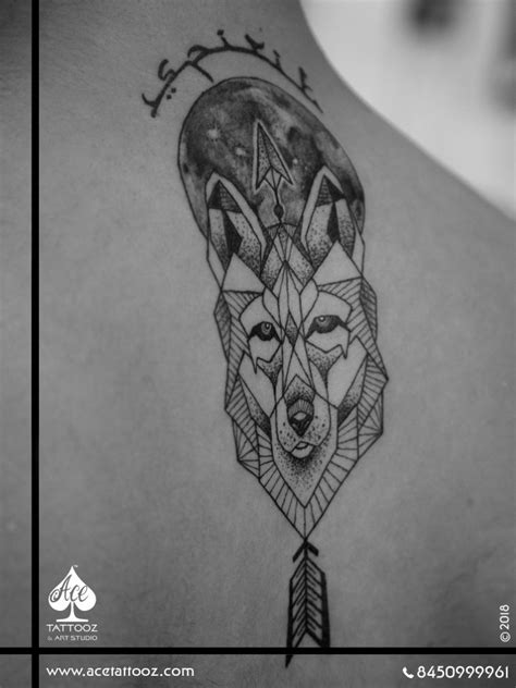 Geometric Wolf with Arrow and Moon Black and Grey Tattoo Designs - Ace Tattooz