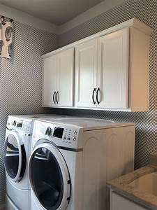 landen, painted, white, cabinets, above, washer, dryer