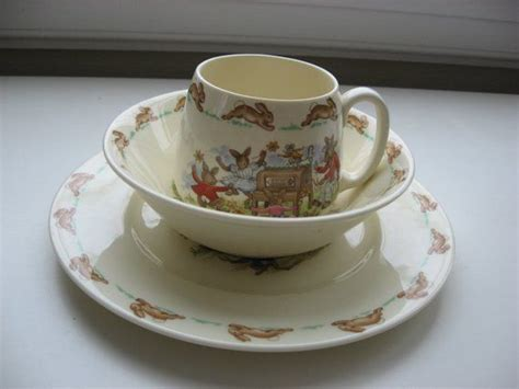 bunnykins royal doulton  pc childs dinnerware cup bowl platecollectiblebaby gift