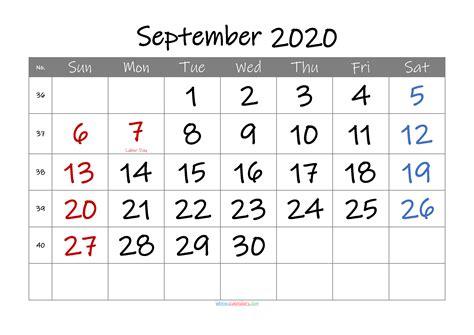 september  printable calendar  holidays