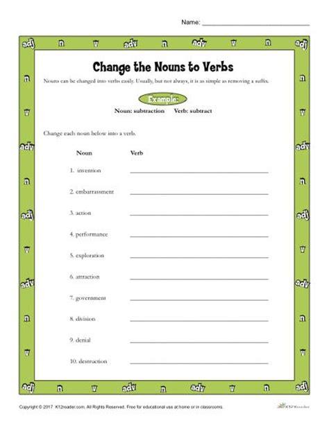 change  nouns  verbs printable   grade