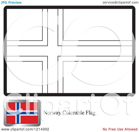 Clipart Of A Coloring Page And Sample For A Norway Flag