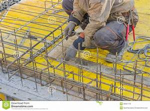 Builder Worker Gearing Up Steel Rods For A Concrete 2 ...