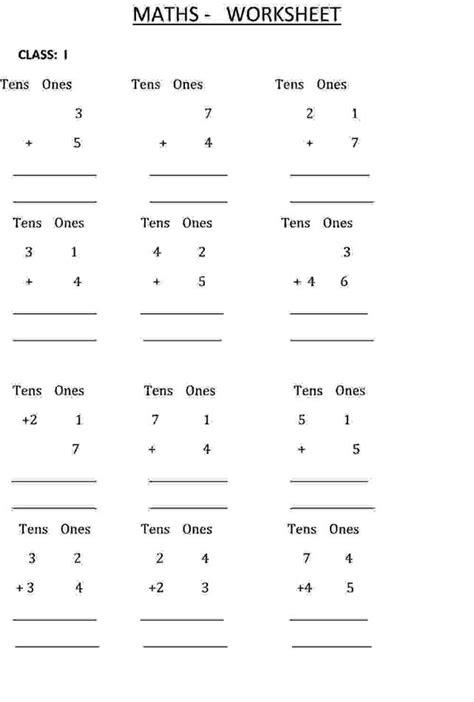 addition calculation class  maths worksheet