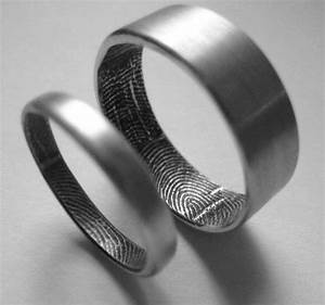 custom fingerprint wedding bands in sterling silver set With finger print wedding ring