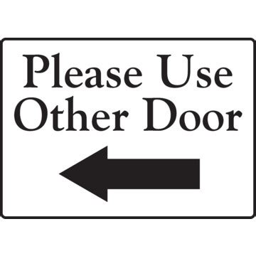 use other door sign use other door left arrow interior decals 1 sided