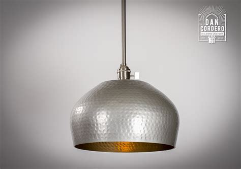 Hammered Gold & Brushed Nickel Edison Bulb Pendant Light