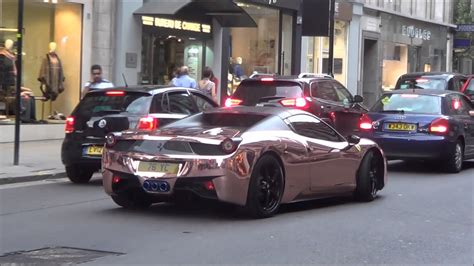 rose gold chrome ferrari   armytrix exhaust revs