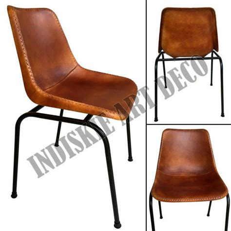 vintage stitched leather dining chair retro leather school