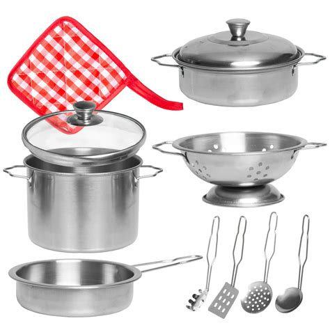 pots pans play pretend toy cooking kitchen toys pan pot cookware stainless rated amazon steel children doug melissa piece utensils