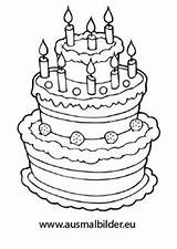 Coloring Birthday Cake Clip Drawing Geburtstagstorte Anniversary Pages Ausmalen Zum Bilder Ausmalbilder Food sketch template