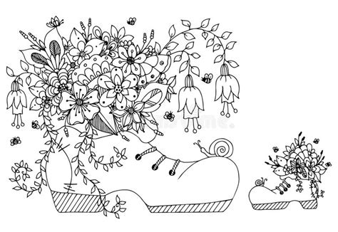 Vector Illustration Zentangl Shoe With Flowers. Doodles