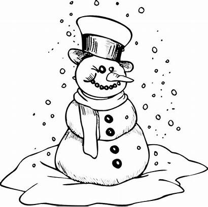Coloring Winter Pages Printable Snowman Cold Snow
