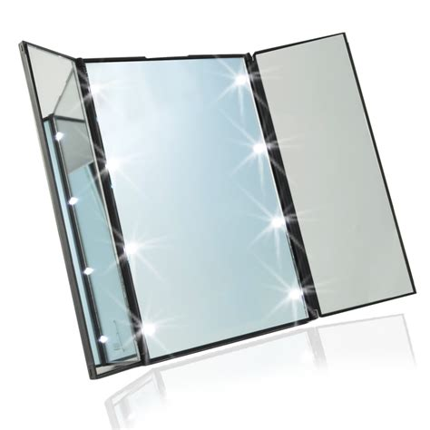 portable makeup mirror with lights travel mirror compact pocket mirror tri fold lighted led