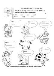 animal sounds esl worksheet  nidhikapoor