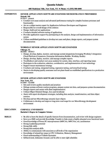senior application software engineer resume sles
