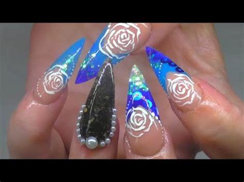 volcanic black sand ocean pearls acrylic nails