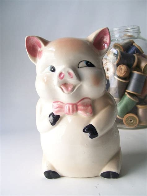 6073 porcelain piggy bank vintage ceramic pig piggy bank blush pink by