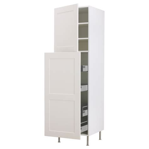 Sliding Tall White Wooden Cabinet With Light Brown Shelves