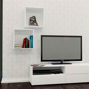 Decorative wall cubes in white set of