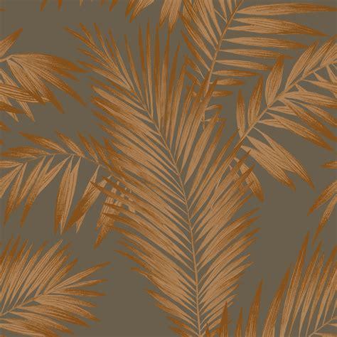 arthouse cressida copper grey leaves glitter wallpaper